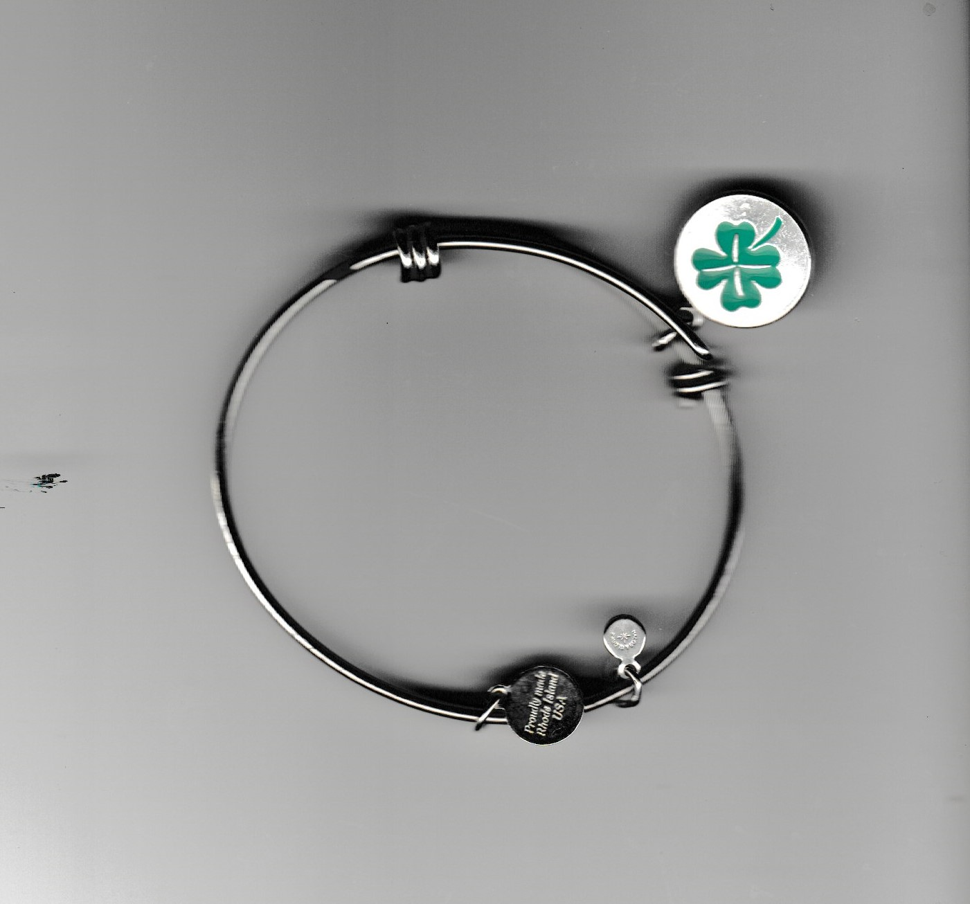 Silver bracelet with Clover charm by Halos & GLories / Made in USA American